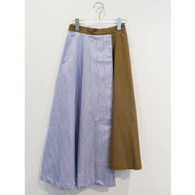 layered stripe flare skirt (sax)