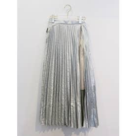 metallic layered pleats skirt (silver)