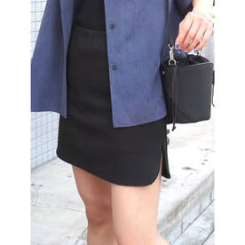 ステッチカーブタイトミニスカート(ブラック)