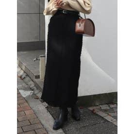 クラッシュロングスカート(ブラック)