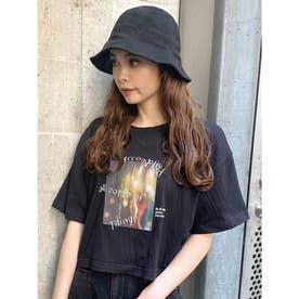 シャーリングプリントショートTシャツ(ブラック)