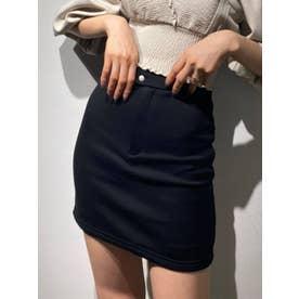 ハイウエストダブルボタンスカート(ブラック)