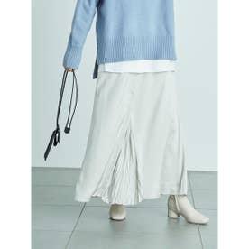 【atelier】センター切替えサテンスカート (LGRY)