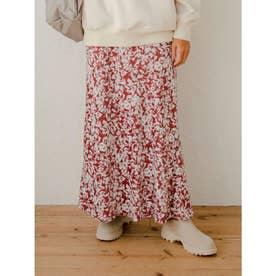 【atelier】フラワープリントナロースカート (RED)