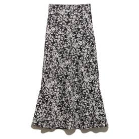 【atelier】フラワープリントナロースカート (BLK)