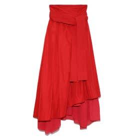 【atelier】タフタプリーツコンビスカート (RED)