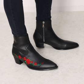 バラ刺繍ブーツ (ブラック)