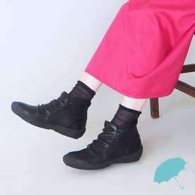 【晴雨兼用】サイドジップレインショートブーツ (ブラック)