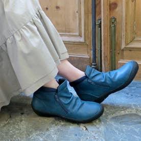 【晴雨兼用】サイドジップレインショートブーツ (ブルー)