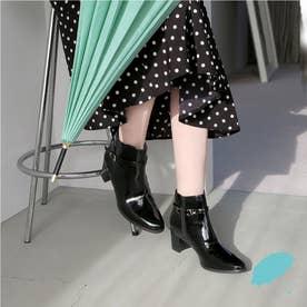 【晴雨兼用】ベルテッドレインブーツ (ブラックエナメル)