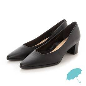 《晴雨兼用》スクエアカットパンプス (ブラック)