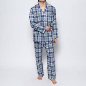 コンパクトブロードスラブチェックパジャマ (ブルー)