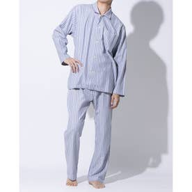 太番手ビエラストライプパジャマ (ブルー)