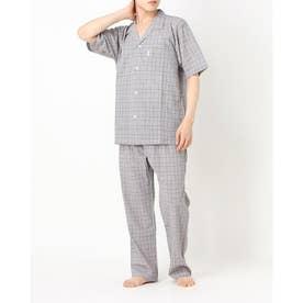 ソフトクレープチェックパジャマ (ブラウン)