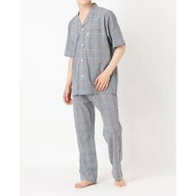 ソフトクレープチェックパジャマ (ネイビー)
