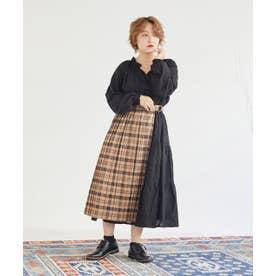 AON チェックオーバーSK付きスカート (ブラック)