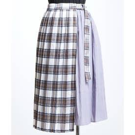 AON チェックオーバーSK付きスカート (パープル)