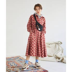 AON 2WAYシャツロングドレス (レッド)