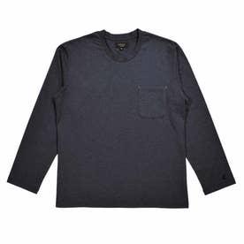 天竺 クルーネックロングスリーブシャツ (ネイビー)