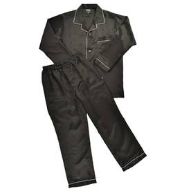 シルク テーラードパジャマ (ブラック)