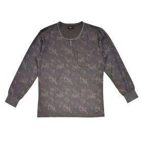 ヘンリーネックジャガードTシャツ (チャコール)