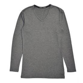 吸湿発熱 長袖VネックTシャツ (チャコールモク)