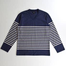 長袖VネックTシャツ (コン)