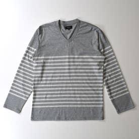 長袖VネックTシャツ (杢グレー)
