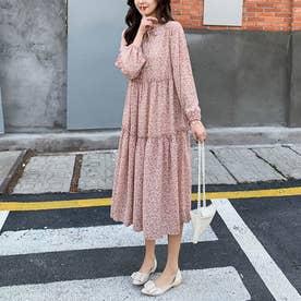 ワンピース ドレス ロング丈 (ピンク)