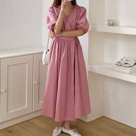 ワンピース ドレス カシュクール (ピンク)