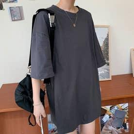 Tシャツ トップス シンプル (グレー)