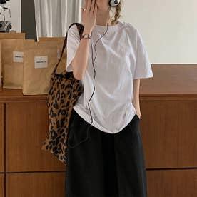 Tシャツ トップス シンプル (ホワイト)
