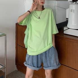 Tシャツ トップス シンプル (グリーンA)