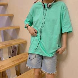 Tシャツ トップス シンプル (アクアグリーン)