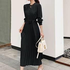 ワンピース プリーツ ドレス (ブラック)