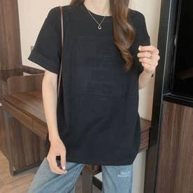 トップス Tシャツ クルーネック (ブラック)