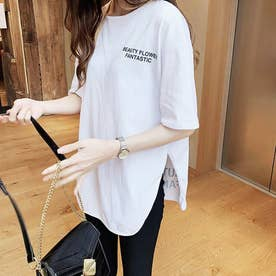 トップス Tシャツ クルーネック (ホワイト)