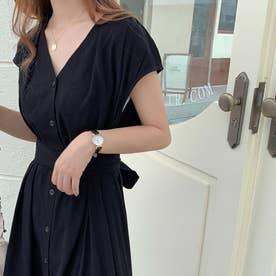 ワンピース ドレス ロング丈 (ブラック)