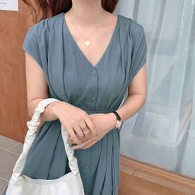 ワンピース ドレス ロング丈 (ブルー)