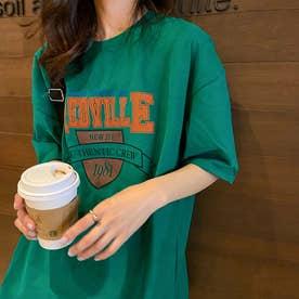 Tシャツ トップス 英字 ロゴ (グリーン)