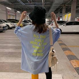 Tシャツ トップス 英字 ロゴ (ブルー)