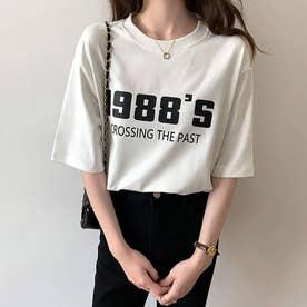 Tシャツ カットソー トップス (ホワイト)