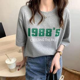 Tシャツ カットソー トップス (ライトグレー)