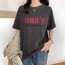 Tシャツ カットソー トップス (ダークグレー)