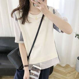 Tシャツ トップス 異素材 (ホワイト)