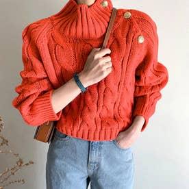 ニットトップス セーター (オレンジ)