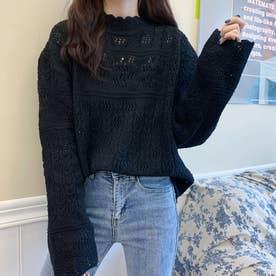 ニットトップス セーター (ブラック)