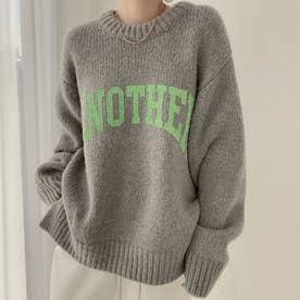 ニットトップス セーター (グレー)
