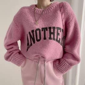 ニットトップス セーター (ピンク)