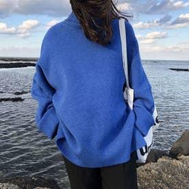 ニットトップス セーター (ブルー)